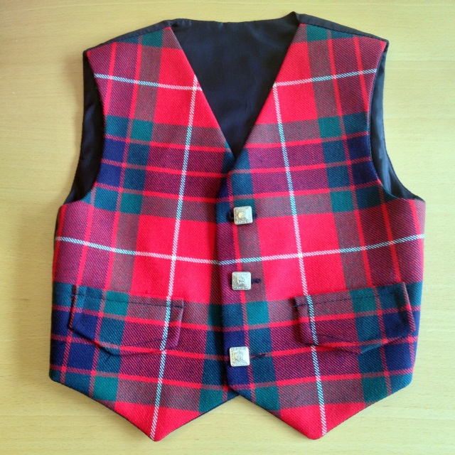 c651fc0f67 Boys Red with Green   Blue Tartan Waistcoat - 22-24